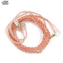 KZ ZSN Pro kabel miedź beztlenowa C Style różowe złoto słuchawki oryginalny drut pozłacany 2 Pin 0.75mm dla KZ ZSN AS12 ZS10 Pro