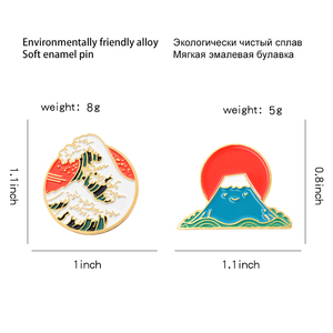 Мультяшная Милая эмалированная брошь с круглой волной в виде Снежной Горы, японская гор Фудзи, японский значок восхода солнца, аксессуары д...