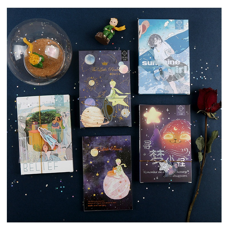 30 Pcs/Set The Little Prince Series Postcard Creative Dream Greeting Cards Birthday Card DIY Journal Decoration