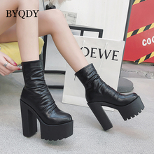 BYQDY Autumn Winter Black Patent Leather Boots Women High Heel Platform Ankle For With Zipper Shoes Girlfriends