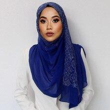 10 יח\חבילה Diaomd צעיף שלג וגל רגיל בועה Chiffom חיג אב צעיף צעיף חרוז לעטוף המוסלמי Hijabs