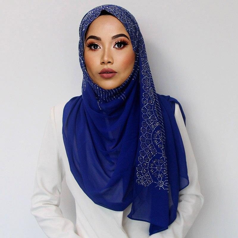 10 Pcs/lot Diaomd Scarf Snow And Wave Plain Bubble Chiffom Hijab Scarf Shawl Bead Wrap Muslim Hijabs