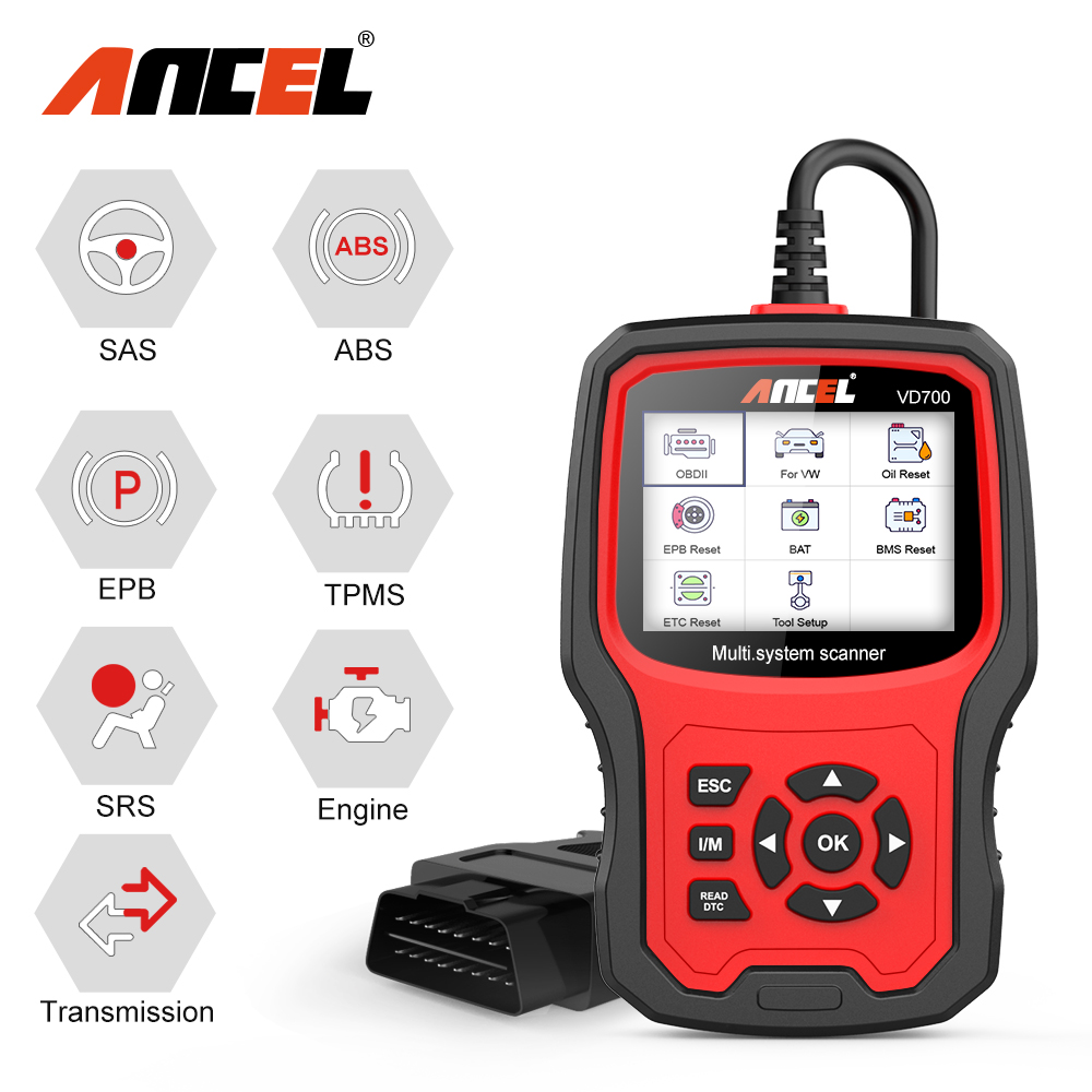 ANCEL VD700 OBD2 Car Diagnostic Tool For Audi VW VAG Skoda Seat Scanner Oil ABS EPB DPF SRS TPMS Tester Free Update OBD Scanner