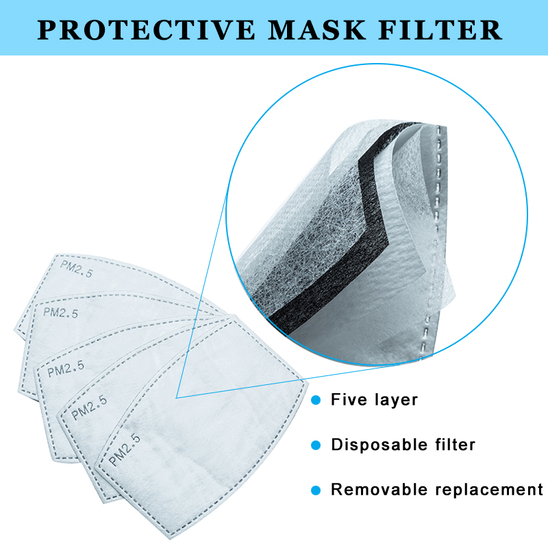 100PCS Mask Filter Non-woven Replacement Anti PM 2.5 Dustproof Protective 5 Layer Removable Pads Mouth Mask Inserts Adults