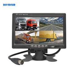 DIYSECUR DC12V-24V 7 Cal 4 Split Quad wyświetlacz LCD kolorowy Monitor samochodowy w lusterku wstecznym do monitorowania samochodów ciężarowych