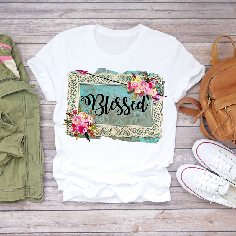 Women 2020 Summer Blessed Flower Floral Cute Fashion Printed Lady T-shirts Top T Shirt Ladies Womens Graphic Female Tee T-Shirt