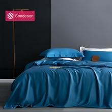 Sondeson Luxury 100% Silk 25 Momme Blue Bedding Set Silk Healthy Skin Duvet Cover Set Flat Sheet Pillowcase Queen King Bed Set