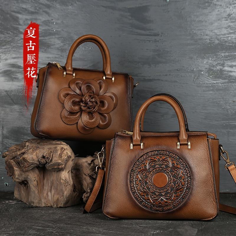 2020 New Original Totem Leather Female Bag Cross-border Retro Women's Handbag First Layer Cowhide Original Single Bag