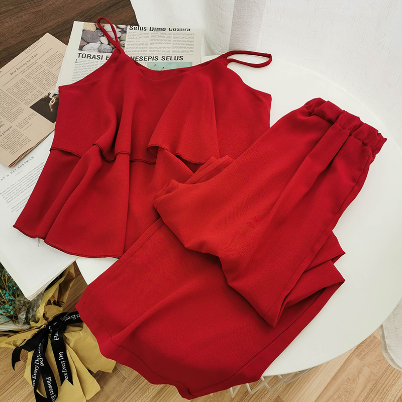 Womne Chiffon Casual Beach Style 2 Piece Set 2020 Summer Sleeveless Pullover Top+elastic Wide Leg Pants Female Set 3 Colors