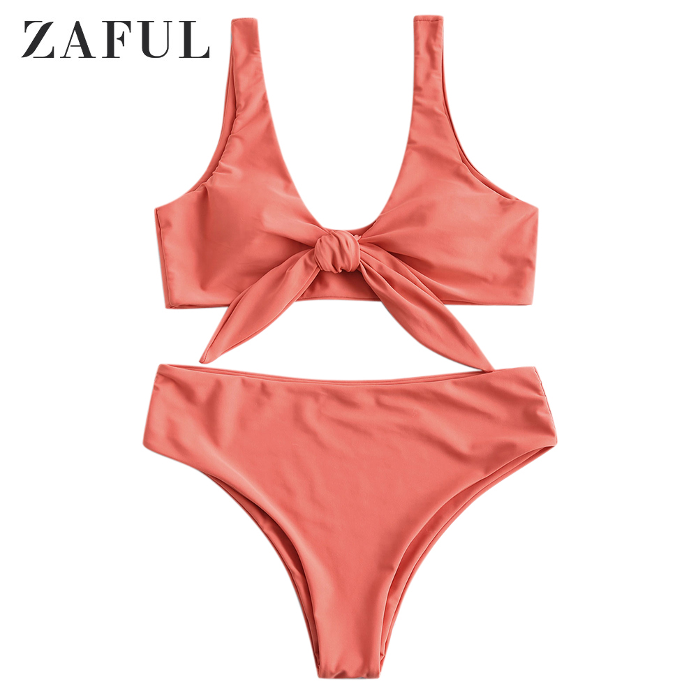 ZAFUL Padded Front Knot Beach Summer Sets Women Set Solid Color Sexy Beachwear 2019 Fashion Two Piece Set