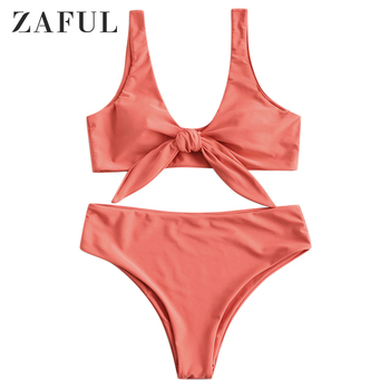 ZAFUL Padded Front Knot Beach Summer Sets Women Set Solid Color Sexy Beachwear 2019 Fashion Two Piece Set игрушка bruder mercedes benz самосвал 03 623