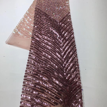 The latest African lace fabric 2020 high quality lace French embroidery sequins tulle lace fabric for Nigerian dress ZX3570
