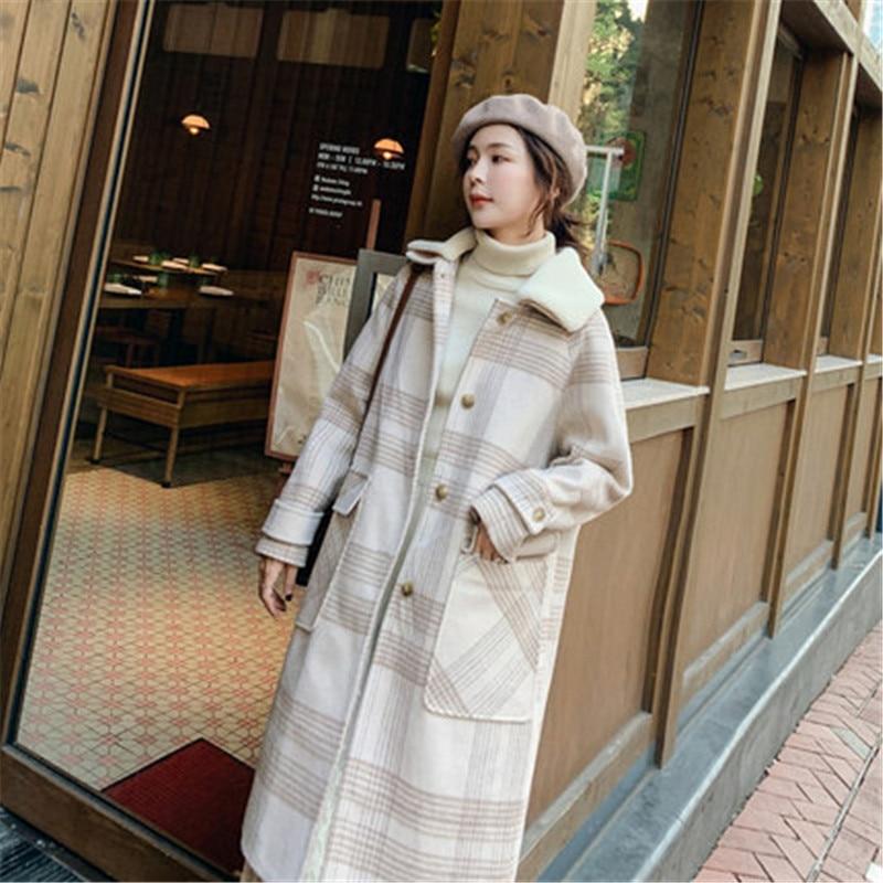 2019 New Autumn Winter Long Plaid Woolen Coat Women Jackets Female Wool Overcoats V982
