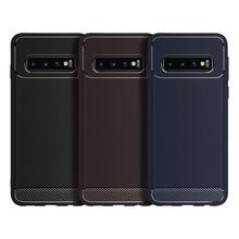 Para Samsung Galaxy A70 A50 A40 A30 A60 funda de fibra de carbono funda de teléfono de silicona para Galaxy S9 S10 Plus la protección de parachoques