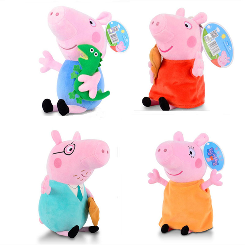 4 Pcs/Set 30 CM Cute Peppa Pig Anime Plush Toys Stuffed Doll George Dad Mom Family Pack Children Christmas Gifts