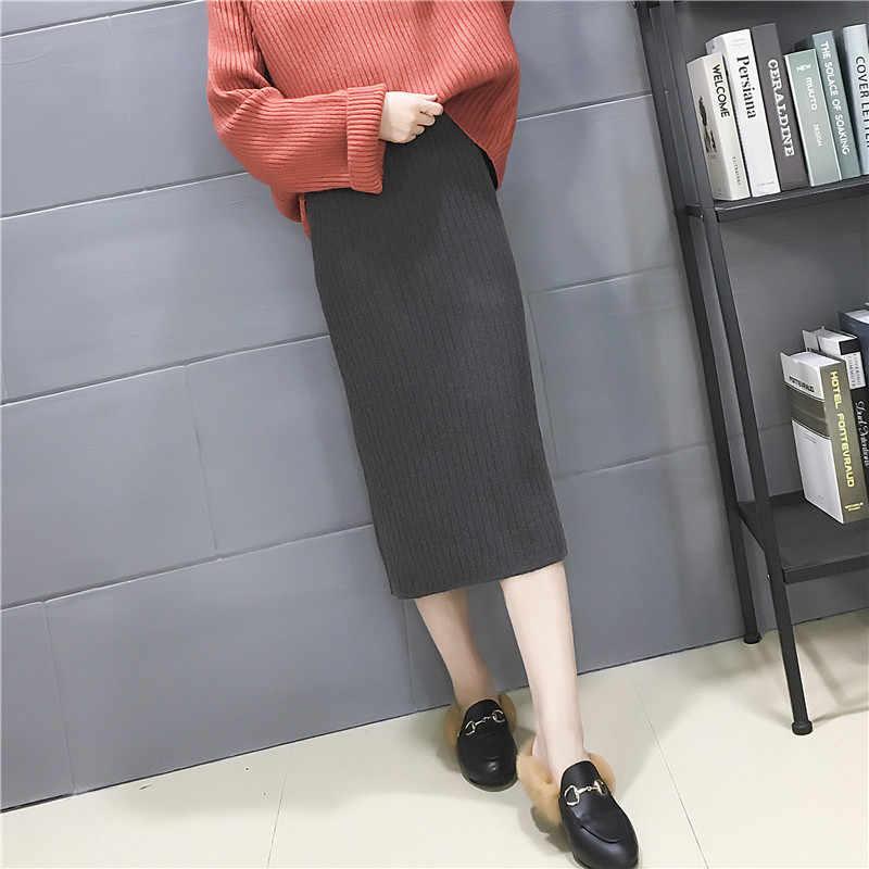 스커트 여성 무릎 길이 솔리드 컬러 높은 허리 2019 니트 긴 얇은 europes 및 미국 스타일 여성 스웨터 vestidos lxj1027