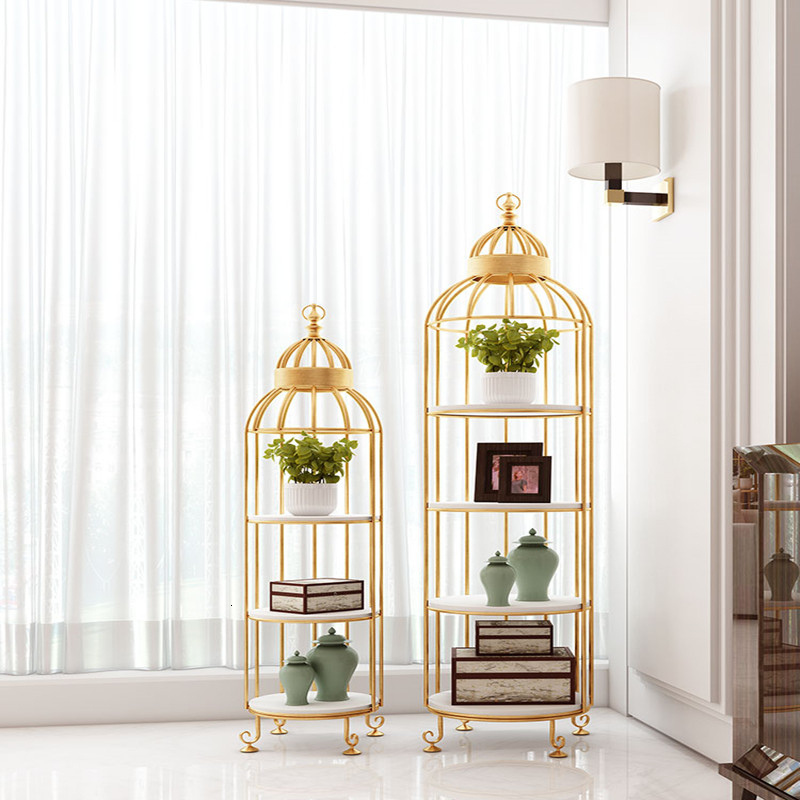 Golden Iron Art Shelf Simplicity Solid Wood Indoor A Living Room Multi-storey Cage Wooden Frame Son Room To Ground Flower Rack