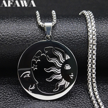 Witchcraft Moon Sun Stainless Steel Statement Necklace Men Silver Color Necklaces Jewerly collar acero inoxidable mujer N611S02