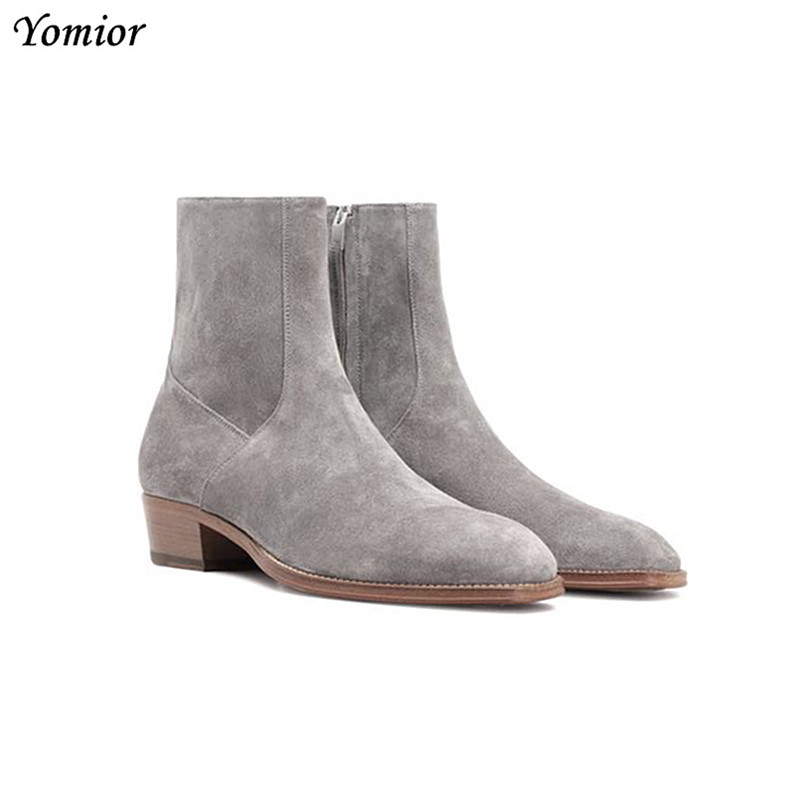 Yomior Italian Fashion Men Shoes Real Cow Leather Pointed Toe Ankle Boots Vintage Zip Cork Formal Dress Chelsea Boots Big Size