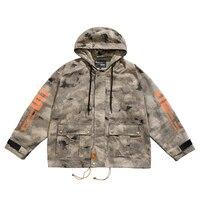 American Men Printing Fashion Long Sleeve Jacket Camouflage Hip Hop Oversize Hooded Cotton Loose Leisure Streetwear Windbreaker