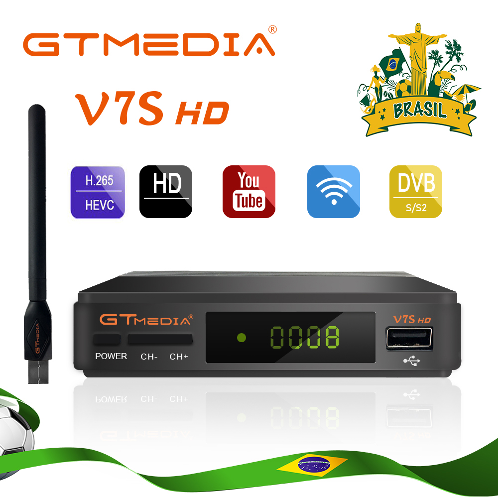 GTmedia V7S Hd Satellite TV Receiver Full HD DVB-S2 + USB Wifi Receptor Ship From Brazil CCcam Support Youtube Satellite Decoder