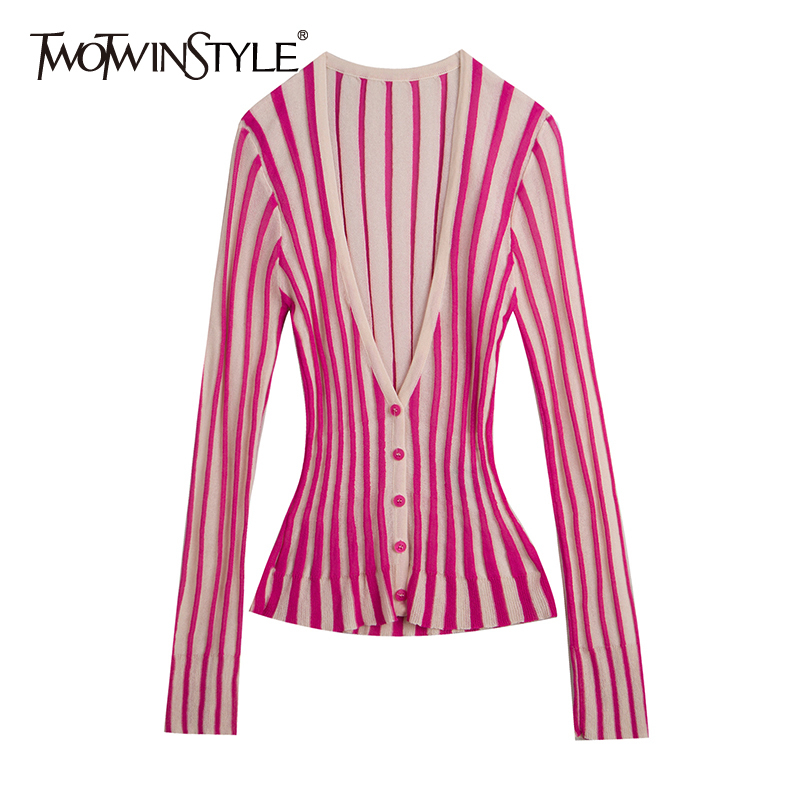 TWOTWINSTYLE Casual Striped Wemon Sweaters V Neck Long Sleeve Tunic Hit Color Sweater For Female Fashion 2020 Spring Clothes New