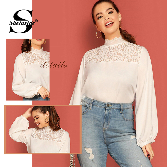 Sheinside Plus Size Casual Stand Collar Lace Patchwork Blouse Women 2019 Autumn Lantern Sleeve Blouses Ladies Solid Basic Top 5