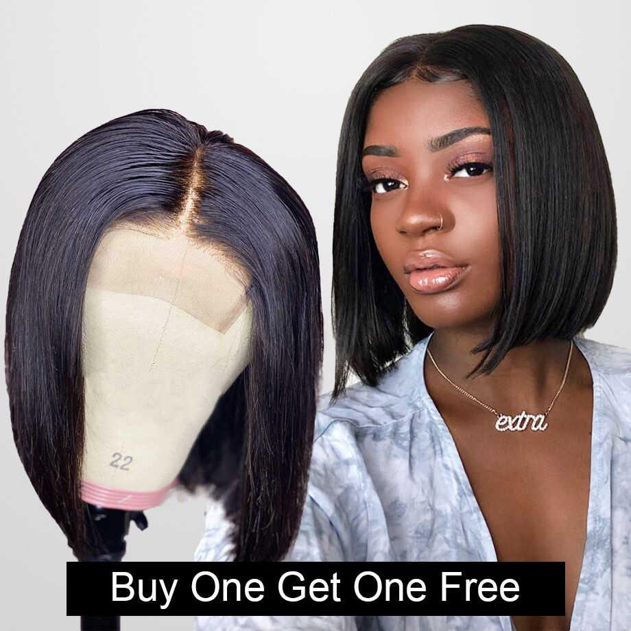 4x4 Verschluss Perücke Kurze Bob Spitze Front Menschliches Haar Perücken für Schwarze Frauen Gerade Welle Brasilianische Tiefe Frontal afro Perücke Volle hd