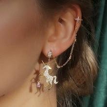 Korean  fashion unicorn horse bone clip earring long tassel ear decoration rhinestone dangle earrings