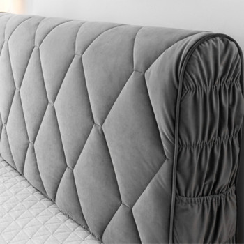 All-inclusive Headboard Cover Velvet Fabric Solid Thicken Bed Head Cover Luxury Soft Bed Back Dust Protector For Home Hotel