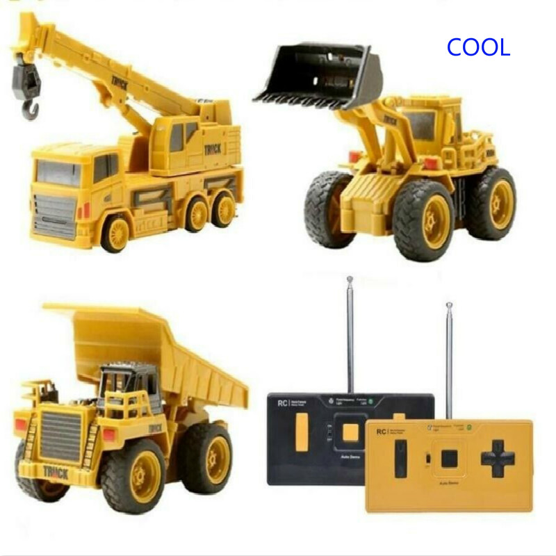 Hotty Toy Mini RC Construction Truck Trailer Car Tractor Excavator Model Bulldozer Crane Truck Toy RTR Loader Remote Control
