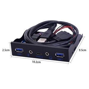 "Image 4 - CHIPAL 5 יציאות USB 3.1 TYPE C רכזת Spilitter USB3.0 USB C מול פנל HD אודיו עם כבל חשמל עבור מחשב שולחני 3.5 ""ביי התקליטונים"