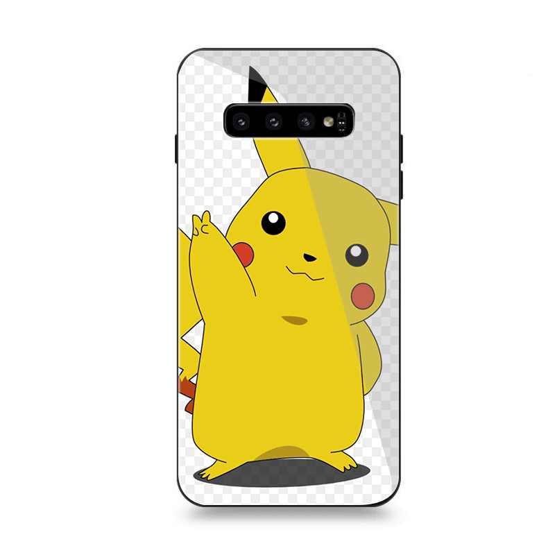 Caixa do telefone De Vidro Para Samsung A70 A10 A30 A40 A50 A60 A20 S7 Borda S8 S9 S10 Plus Capa Engraçado naruto Pikachu