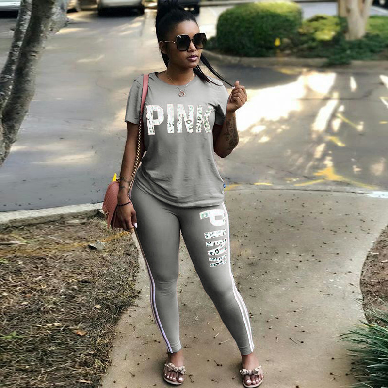 Hot Women Set Letter Print Sexy Sweatsuit Plus Size Tops+Skinny Pants Sweat Suits Two Piece Tracksuit Casual 2 Piece Set S-XXXL