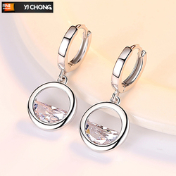 New Arrival Female Earrings 925 Sterling Silver Semicircular Water Drop Zircon Earrings for Women Wedding Jewelry Pendientes