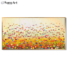 Wholesale High Quality Abstract Colorful Circle Flower Landscape Oil Painting for Living Room Decor Handmade Canvas