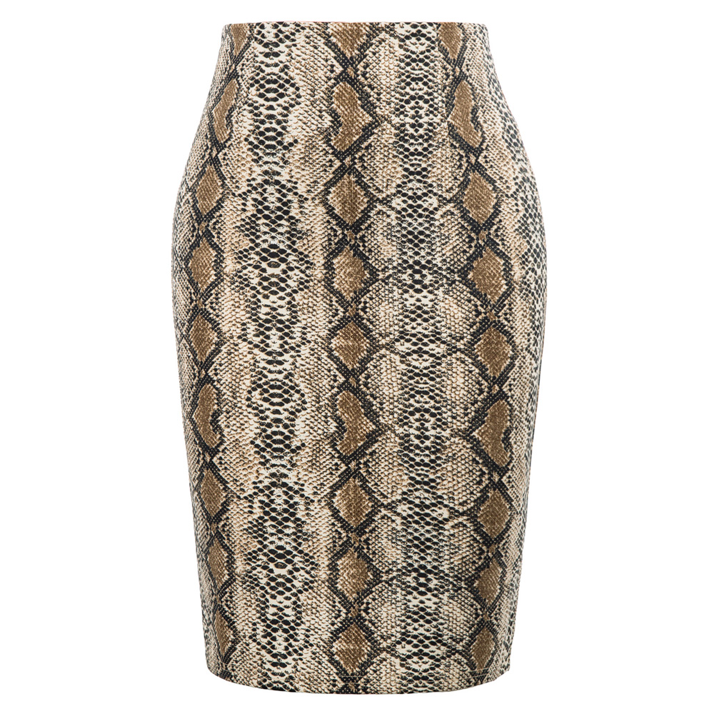 Skirts Women's Fashion Snake Skin Pattern Hips-wrapped Bodycon Skirts Ladies High Waist Sexy Elegant Fit Knee Pencil Skirt Lady