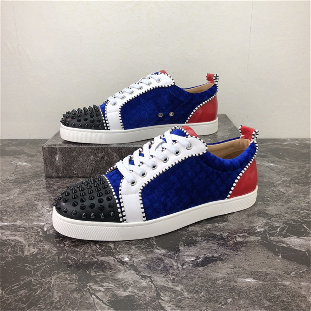 Blue Red Patchwork Low Top Rivets Decor