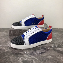 Men Shoes Luxury Brand Rivets-Decor Casual Blue New Metal Patchwork Red Rhinestones Low-Top