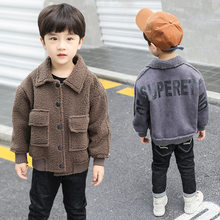 Boy Thick Plush Cotton Clothing Outfit Baby Boy Autumn Winter Thicken Fur Warm Outwear For Kid Jacket Children Anorak(China)