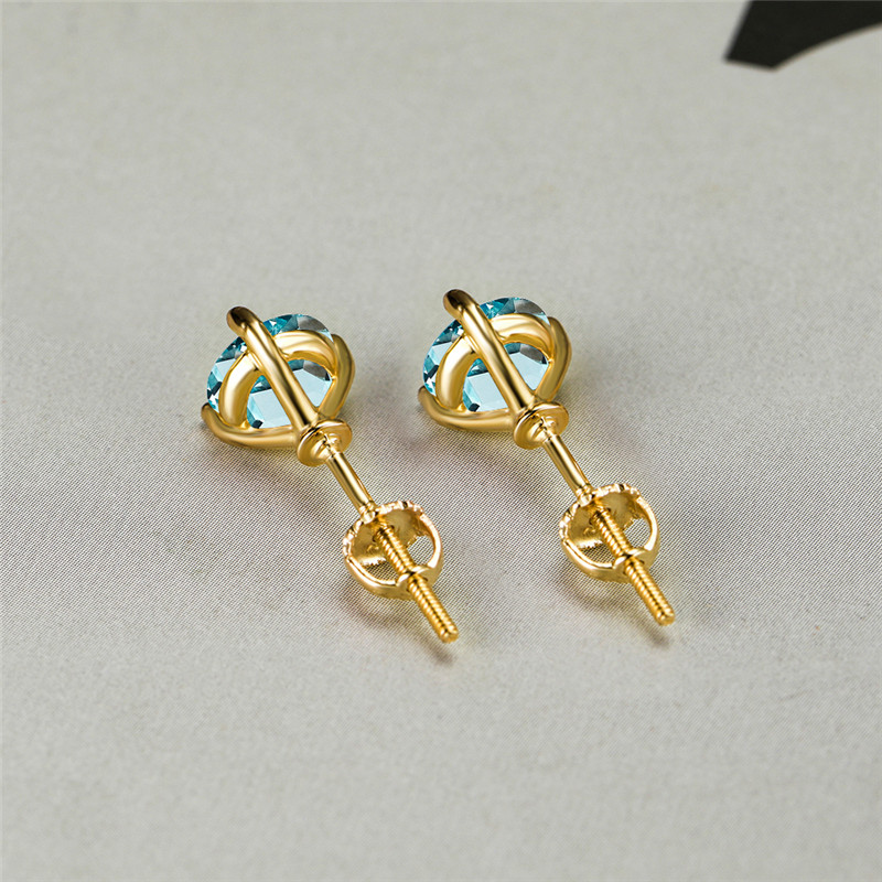 8MM Round Light Blue Zircon Yellow Gold Stud Earrings For Women Engagement Jewelry Rainbow Crystal Bridal Earrings Wedding Gifts