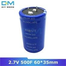 Супер фарад конденсатор 2,7 в 500F 60*35 мм Автомобильный выпрямитель низкий ESR конденсатор Ultracapacitor 2.7V500F 60x35 мм 60x35 высокая частота