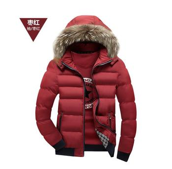 2019 Winter Men Hairy Hat Patchwork Thickening Coat Men Hooded Cotton-padded Fashion Jacket Warm Parka Plus Size Top Clothes