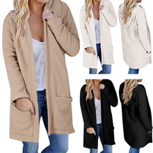Cotton Siamese Cap Women Coat Autumn Winter Coat Long Sleeve Turn-Down Collar Oversize Blazer Outwear Jacket Elegant Overcoats cheap Pockets Open Stitch 19081409453849701 Loose Casual Patchwork REGULAR Full 400787