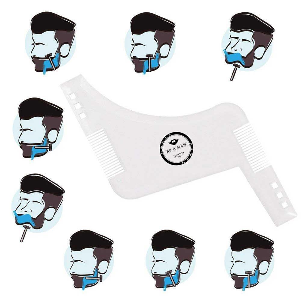 สินค้าใหม่ผู้ชาย Beard Shaper จัดแต่งทรงผมแม่แบบโปร่งใสหวีผู้ชายเคราหวีผมความงามเครื่องมือขอบ Stencils การจัดส่ง