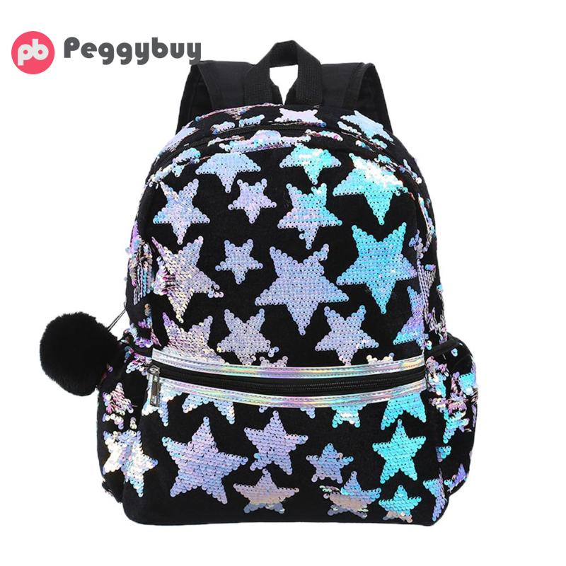 Fashion Sequins Star Women Backpack Children Student Casual Large Schoolbag Small Backpack Women Leather Mochila Escolar