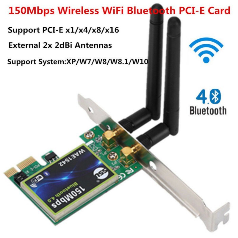 Bluetooth WiFi PCI-E Network Card 2.4G Wireless 150Mbps PCI Express Internet Networking Adapter