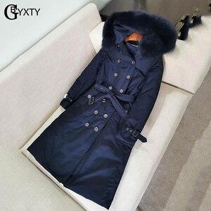 Image 2 - GBYXTY manteau Long en duvet pour femmes, Trench Coat, à capuche, épais, en fourrure de renard, doudoune en duvet doie, marque ZA1750, 2019