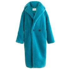 90% צמר 10% קשמיר אמיתי פרווה מעיל נשים חורף חליפת צווארון ארוך טבע דובון פרווה מעילי מעיל