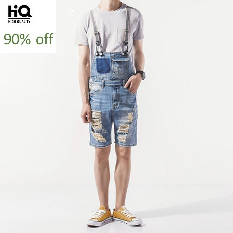 Denim Mens Shorts 2020 Korean Fashion Male Overalls Hole Ripped Biker Casual Man Suspenders Streetwear Knee Length Jumpsuits Men
